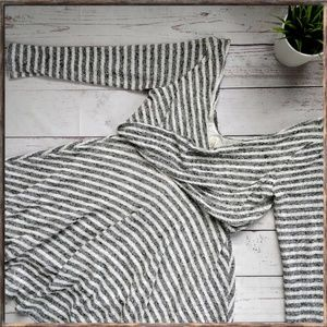 FREE PEOPLE Striped Knit Flare Dress, Grey White L